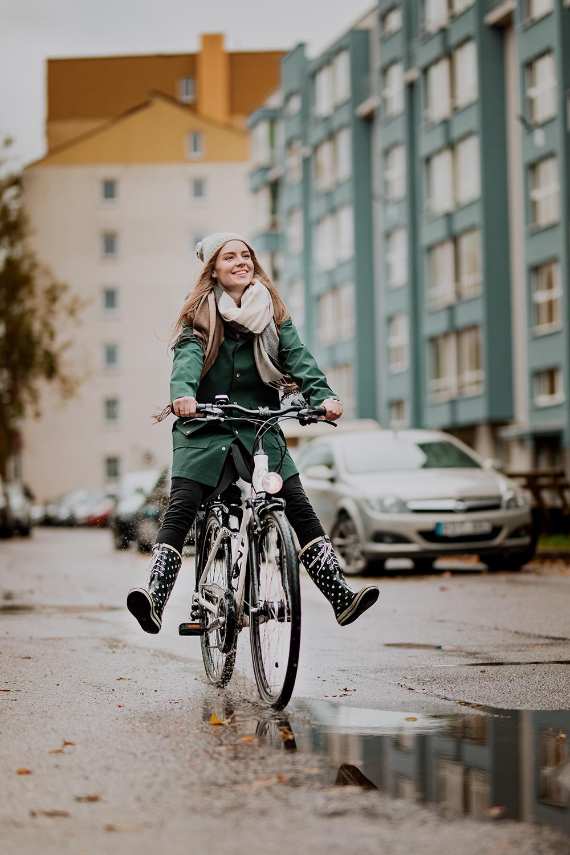 Raincoat is perfect for biking
