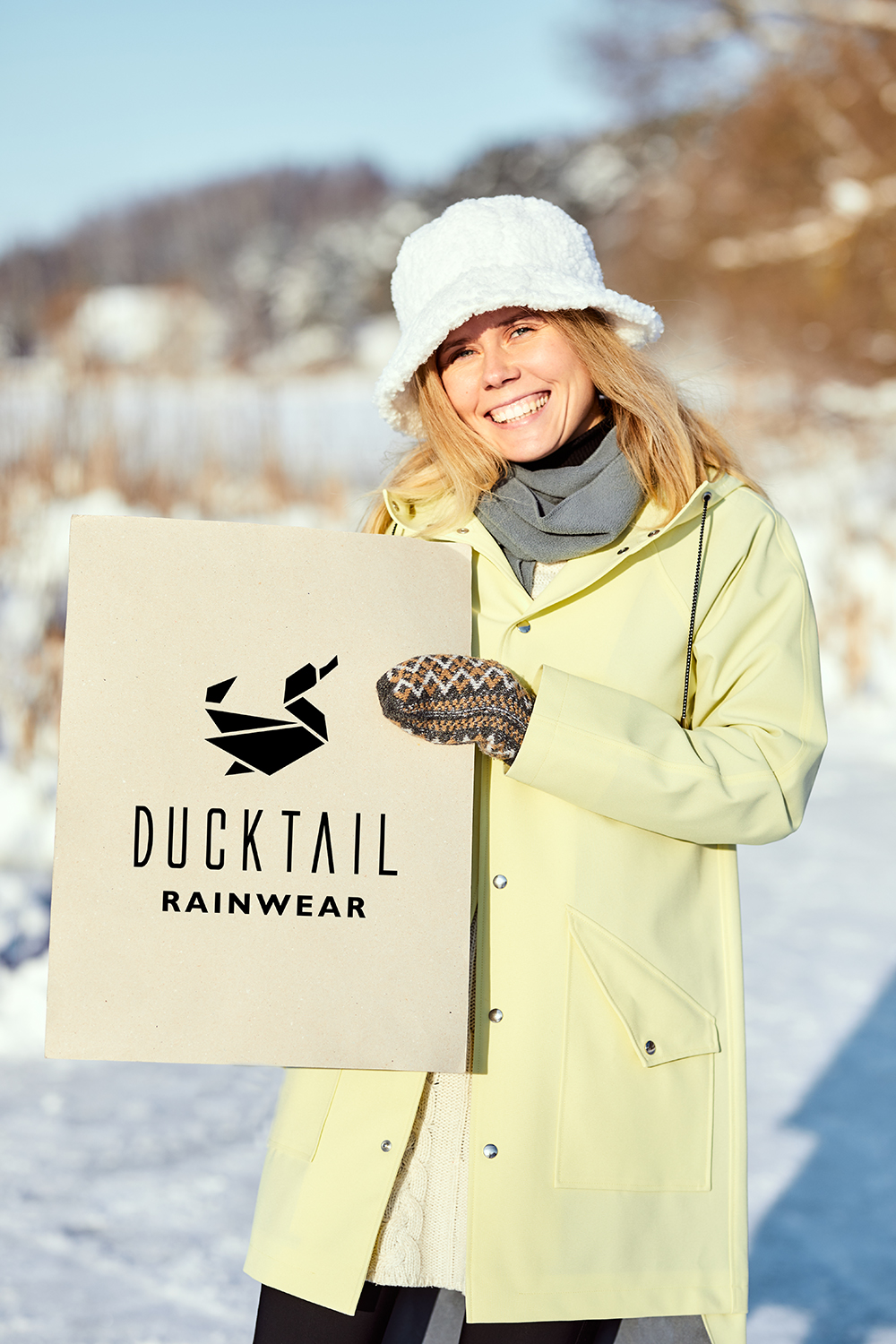 ice skating in winter with a raincoat