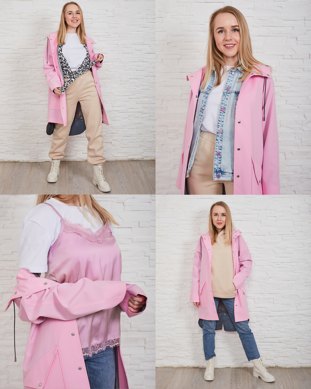 spring capsule with a cute pink raincoat