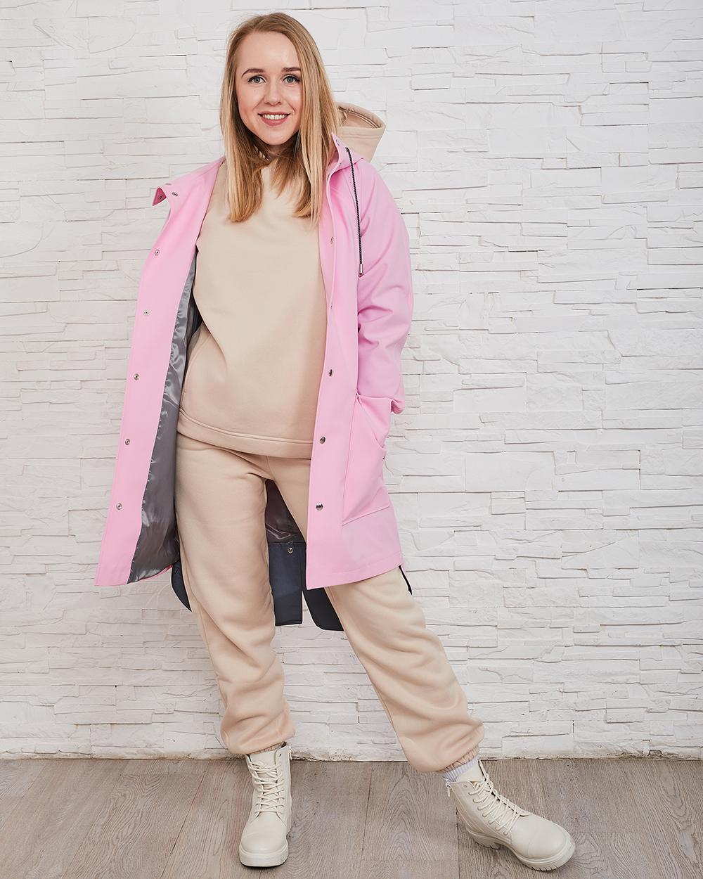 pink raincoat outfit idea